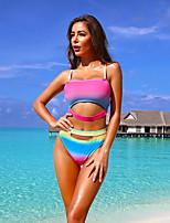 cheap -Women's Blushing Pink Yellow Red Tankini Swimwear - Rainbow S M L Blushing Pink