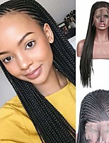 cheap -Synthetic Lace Front Wig Box Braids with Baby Hair Lace Front Wig Long Natural Black Synthetic Hair 18-26 inch Women's Synthetic New Arrival Braided Wig Black