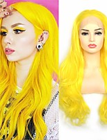 cheap -Synthetic Lace Front Wig Wavy Middle Part Lace Front Wig Long Yellow Synthetic Hair 18-26 inch Women's Cosplay Soft Adjustable Yellow