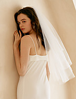 cheap -Two-tier Sweet Wedding Veil Fingertip Veils with Solid Tulle / Angel cut / Waterfall