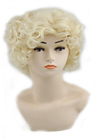 cheap -Synthetic Wig Curly Asymmetrical Wig Short Light golden Synthetic Hair 11 inch Women's Best Quality Blonde