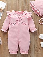 cheap -Baby Girls' Basic Solid Colored Long Sleeve Overall & Jumpsuit Blushing Pink