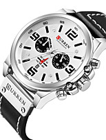 cheap -Men's Sport Watch Japanese Quartz Genuine Leather Black / Red / Khaki Calendar / date / day Chronograph Creative Analog New Arrival Fashion - Black Black / White Black / Gray Two Years Battery Life