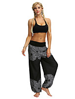cheap -Women's Yoga Pants Harem Smocked Waist Print Black Light Blue Dance Fitness Gym Workout Bloomers Sport Activewear Lightweight Breathable Quick Dry Soft Stretchy Loose