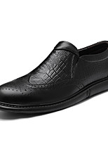 cheap -Men's Printed Oxfords Nappa Leather Spring / Fall Casual / British Loafers & Slip-Ons Non-slipping Black / Party & Evening