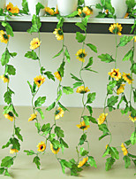 cheap -Artificial Silk Flower Decoration Rattan Venue Layout Fake Flower Wall Hanging Home Sunflower Chrysanthemum Vine 1 Stick