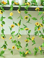 abordables -Artificielle fleur en soie décoration rotin lieu mise en page faux fleur Tenture murale maison tournesol chrysanthème vigne 1 bâton