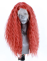 cheap -Synthetic Lace Front Wig Curly Side Part Lace Front Wig Long Watermelon Red Synthetic Hair 18-26 inch Women's Adjustable Heat Resistant Party Red