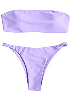 cheap -Women's Basic Boho Purple Bandeau Cheeky Tankini Swimwear - Solid Colored Backless S M L Purple