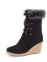 cheap -Women's Boots Wedge Heel Round Toe Suede Mid-Calf Boots Fall & Winter Black / Wine / Blue