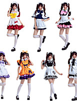 cheap -Sweet Lolita Maid Uniforms Dress Female Japanese Cosplay Costumes Black / White / Purple Color Block Bowknot Short Sleeve Knee Length / Apron