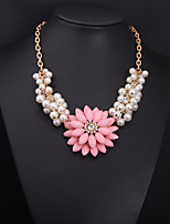 cheap -Women's Pearl Pearl Necklace Layered Floral / Botanicals Statement Cute Imitation Pearl Light Green Pink 54+7 cm Necklace Jewelry 1pc For Wedding Engagement