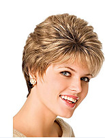 cheap -Synthetic Wig Curly Asymmetrical Wig Short Light Brown Synthetic Hair 11 inch Women's Best Quality Light Brown