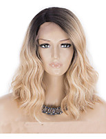 cheap -Synthetic Wig Curly Asymmetrical Wig Short Ombre Blonde Synthetic Hair 15 inch Women's Best Quality Blonde