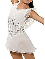 abordables -Robe de Patinage Artistique Femme Fille Patinage Robes Blanche Spandex Haute élasticité Entraînement Compétition Tenue de Patinage Fait à la main Mosaïque Cristal / Stras Sans Manches Patinage sur