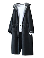 cheap -Women's Going out Spring &  Fall Long Trench Coat, Solid Colored Hooded Long Sleeve Polyester Black / Royal Blue / Light Blue