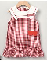 cheap -Toddler Girls' Cute Check Sleeveless Above Knee Dress Red