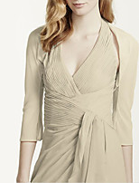 cheap -3/4 Length Sleeve Chiffon Wedding Women's Wrap With Ruching Shrugs