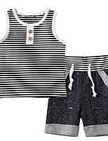 cheap -Kids Boys' Basic Striped Sleeveless Clothing Set Black