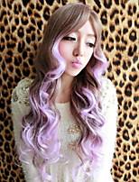 abordables -Perruque Synthétique Bouclé Coupe Asymétrique Perruque Long Ombre Purple Cheveux Synthétiques 27 pouce Femme Meilleure qualité Violet A Ombre