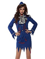 cheap -Zombie Ghostly Bride Dress Cosplay Costume Adults' Women's Cosplay Halloween Halloween Festival / Holiday Polyester Blue Women's Carnival Costumes