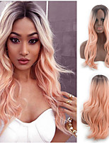 cheap -Synthetic Wig Curly kinky Straight Asymmetrical Wig Long Ombre Pink Synthetic Hair 27 inch Women's Best Quality Pink Ombre