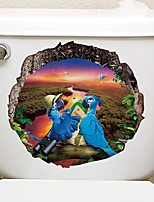 cheap -Cute Animals Toilet Stickers - Animal Wall Stickers Landscape / Animals Bathroom / Kids Room
