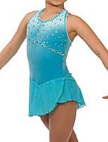 abordables -Robe de Patinage Artistique Femme Fille Patinage Robes Bleu Ciel Spandex Haute élasticité Entraînement Compétition Tenue de Patinage Fait à la main Mosaïque Cristal / Stras Sans Manches Patinage sur