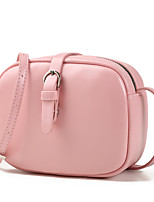cheap -Women's Zipper PU Crossbody Bag Solid Color Black / Brown / Blushing Pink