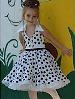 cheap -Kids Girls' Polka Dot Dress White