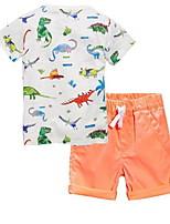 cheap -Kids Boys' Basic Cartoon Short Sleeve Clothing Set Orange