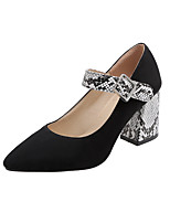 cheap -Women's Heels Chunky Heel Pointed Toe Buckle Suede Vintage Spring &  Fall White / Red / Party & Evening / Color Block