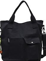 cheap -Women's Zipper Canvas Top Handle Bag Geometric Pattern Black / White