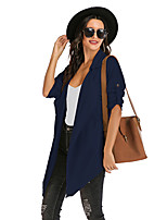 cheap -Women's Daily / Going out Spring / Winter Long Trench Coat, Solid Colored Shirt Collar Long Sleeve Cotton / Polyester White / Royal Blue