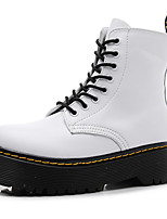 cheap -Women's Boots Creepers Round Toe Cowhide Booties / Ankle Boots Classic / Vintage Spring & Summer / Fall & Winter Black / White