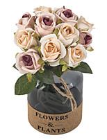 cheap -Artificial Flower Rose Small Bouquet Bride Holding Flowers Wedding Decoration 6 Sticks