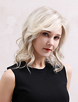 cheap -Human Hair Wig Medium Length Wavy Asymmetrical Deep Parting Blonde Multi-color Fashionable Design Easy dressing Fashion Capless Women's All Blonde 14 inch / African American Wig