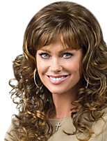 cheap -Synthetic Wig Curly Body Wave Asymmetrical Wig Long Brown Synthetic Hair 21 inch Women's Best Quality Brown