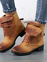 cheap -Women's Boots Chunky Heel Round Toe PU Booties / Ankle Boots Fall & Winter Black / Yellow / Red