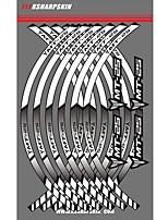 abordables -Autocollants de voiture brun / blanc / rose rougissant autocollants communs d'individualité texte / numéro autocollants de jante de roue de moto autocollants réfléchissants à rayures pour Yamaha MT-25