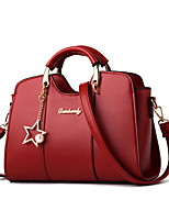 cheap -Women's Cowhide / PU Top Handle Bag Solid Color Black / Wine / Blushing Pink