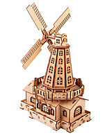 cheap -3D Puzzle Wooden Puzzle Windmill Creative Hand-made Wooden 127 pcs Kid's Adults' All Toy Gift