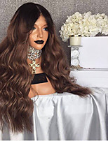 cheap -Synthetic Wig Curly Wavy Asymmetrical Wig Long Ombre Brown Synthetic Hair 27 inch Women's Best Quality Brown Ombre