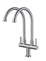 cheap -Kitchen faucet - Two Handles Two Holes Electroplated Standard Spout / Tall / ­High Arc Centerset Contemporary Kitchen Taps
