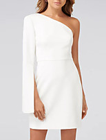 abordables -Fourreau / Colonne Une Epaule Courte / Mini Satin Minimaliste Soirée Cocktail / Vêtements de fête / Invité de mariage Robe 2020 avec