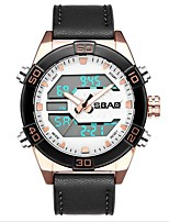 cheap -Men's Digital Watch Quartz Modern Style Sporty Genuine Leather Black / Brown 30 m Water Resistant / Waterproof Calendar / date / day Noctilucent Analog - Digital Outdoor Fashion - Black Black / White