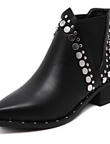 cheap -Women's Boots Low Heel Pointed Toe PU Booties / Ankle Boots Fall & Winter Black