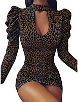 cheap -Women's Daily Wear Basic Bodycon Dress - Leopard Cut Out Print Yellow Gray S M L XL
