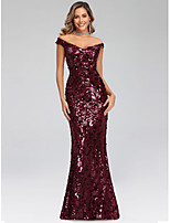 cheap -Mermaid / Trumpet Off Shoulder Floor Length Polyester Beautiful Back / Glittering Prom / Formal Evening / Wedding Guest Dress 2020 with Sequin