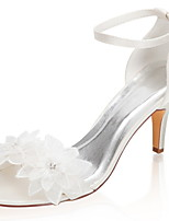 cheap -Women's Wedding Shoes Stiletto Heel Open Toe Crystal / Buckle Satin Summer Ivory / Party & Evening